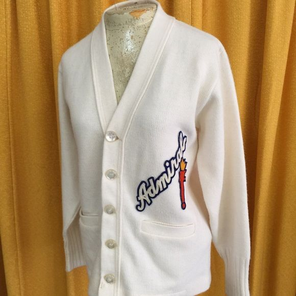 Vintage 1950s Admiral Letterman Sweater 50s true vintage school letterman sweater Woman's Small to Medium Sweaters Cardigans