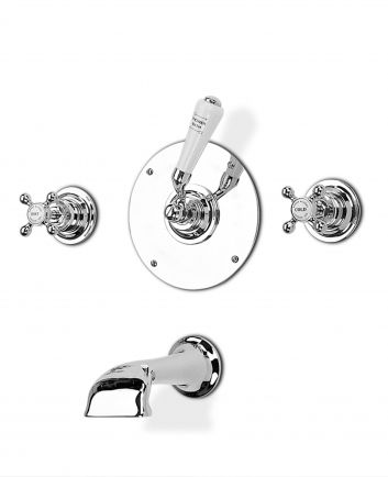 Tradition wall valves (pair) and wall mounted bath spout and diverter - finish options