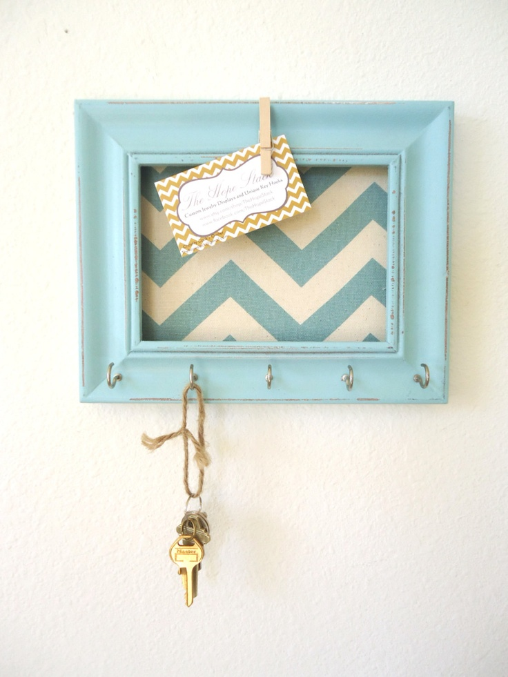 Key holder memo board wall hook home decor chevron frame organization tiffany blue 5 silver - Key racks for wall ...