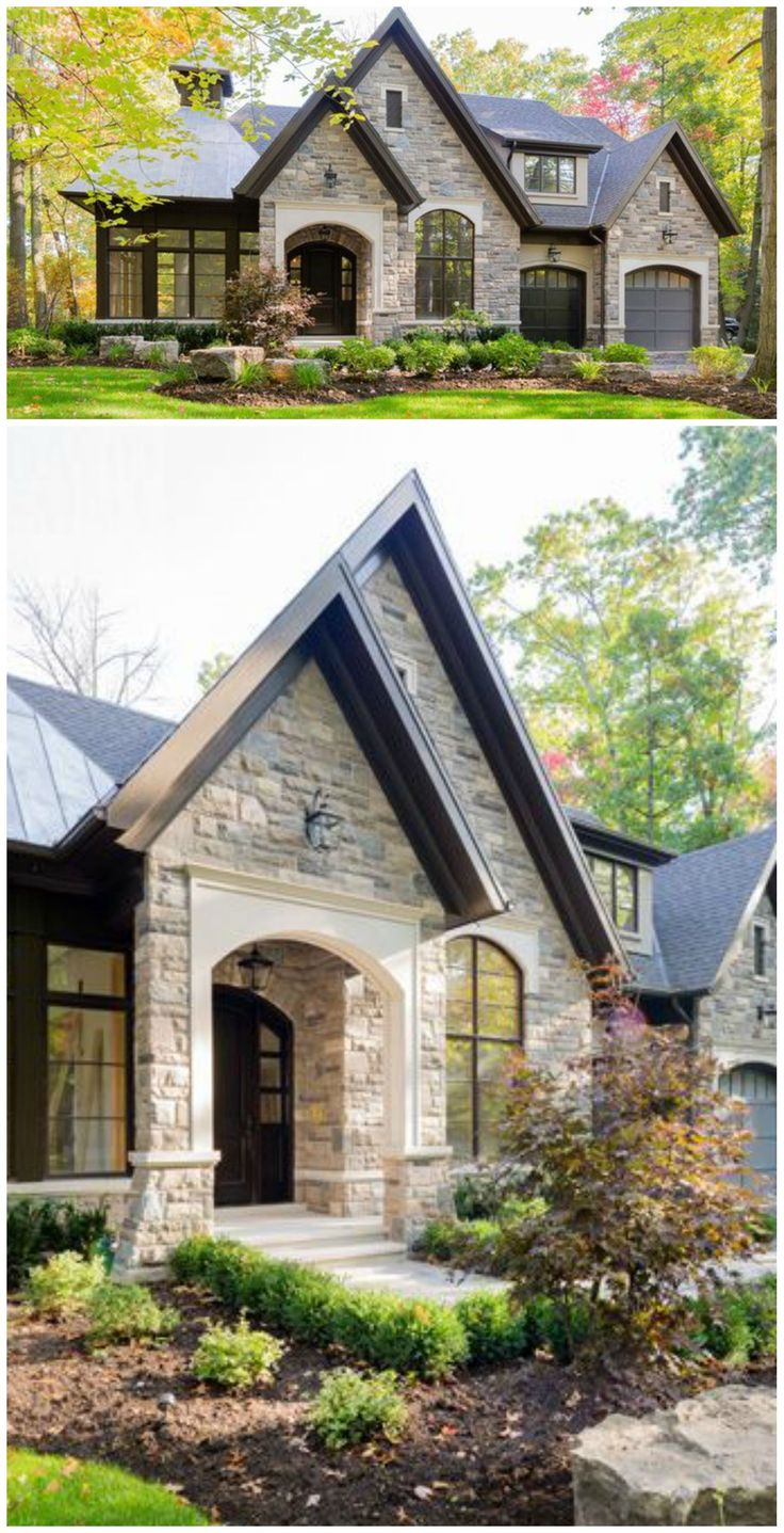 Exterior trending designs can include homes with stone front details!