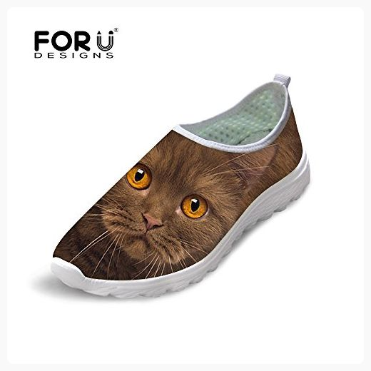 Running Shoes Unisex All Over 3D Printed Mesh Slip On Funny Pet Cat Casual Shoes