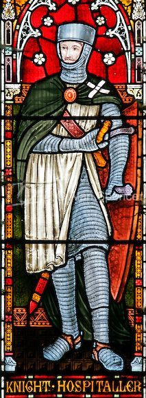 Detail from the west stained glass window depicting the Knights Hospitaller, Church of St Andrew.