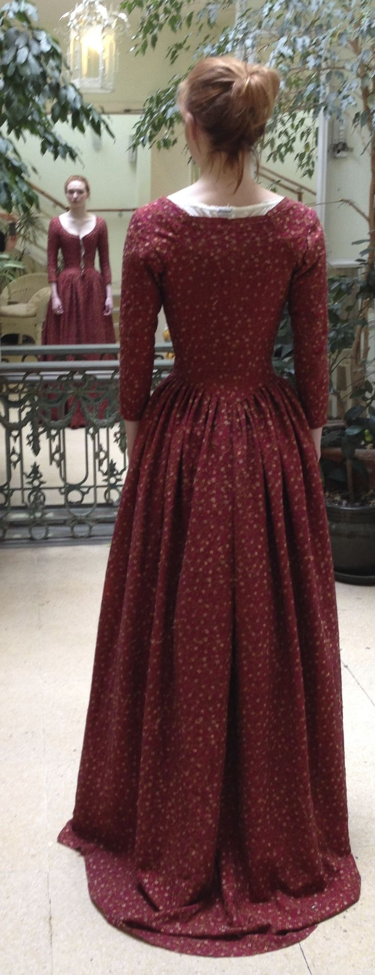 Demelza (Eleanor Tomlinson) costume fitting for Christmas dress, made from embroidered dyed silk. Courtesy of Marianne Agertoft/Mammoth Screen. | Poldark, as seen on Masterpiece on PBS