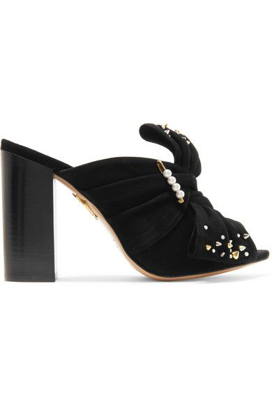 Charlotte Olympia - Suede Mules - Black