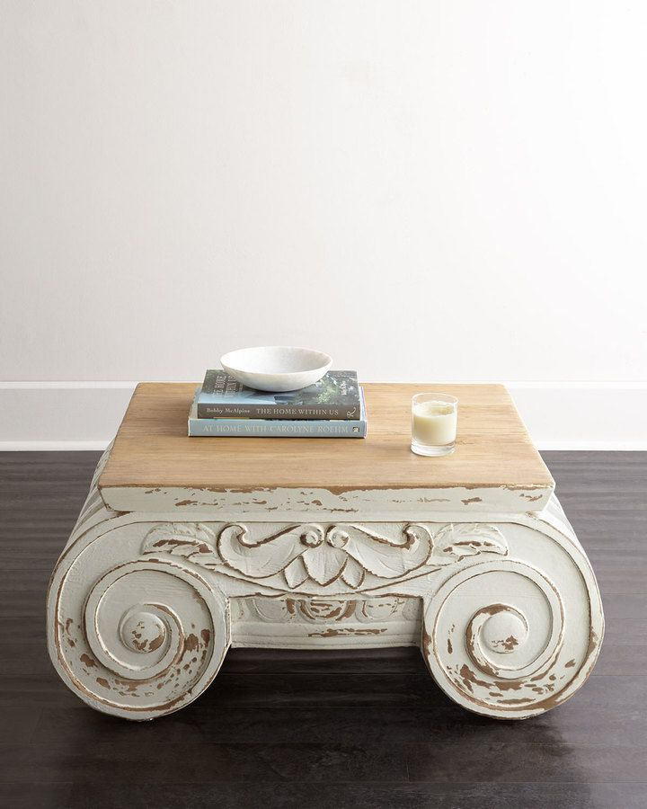 Handcrafted coffee table inspired by the ionic capital of
