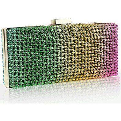 Box Clutch Bag Hard Case Sparkly Diamante Metallic Evening Bridal Handbag Prom
