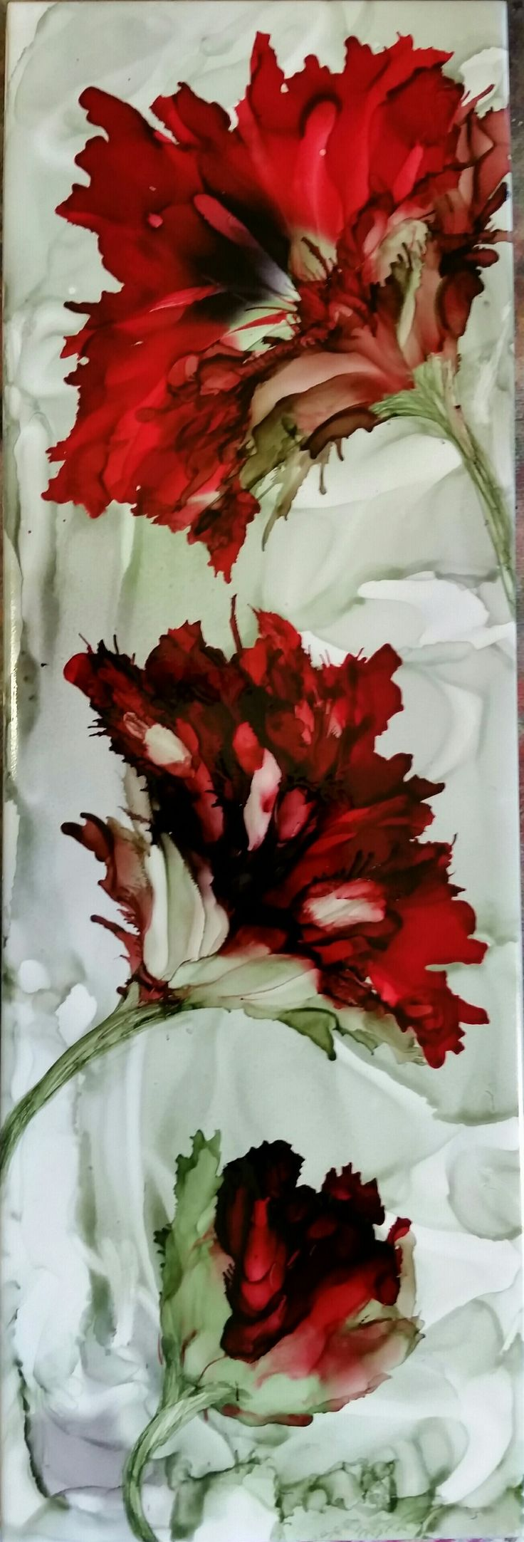 Wow! Unbelievable that this is alcohol inks!!!! Flowers in alcohol ink on 12x4 ceramic tile by Tina