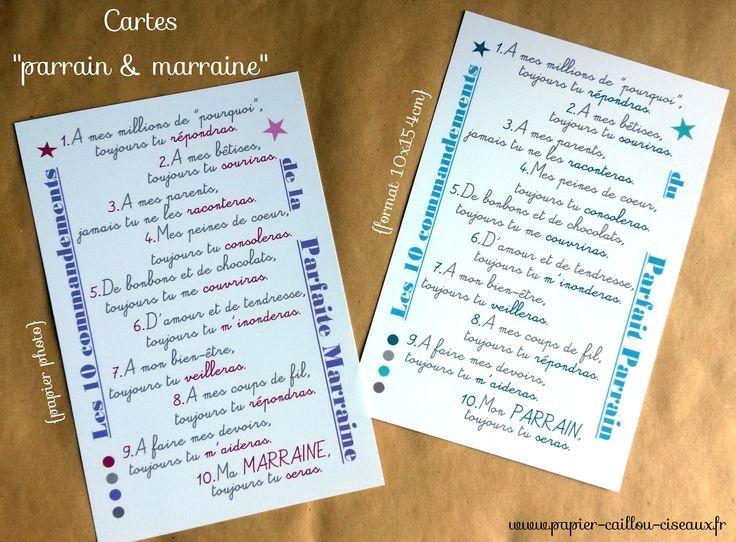 """Cartes """"parrain & marraine"""" BLEU et MAUVE : Cartes par papier-caillou-ciseaux"""