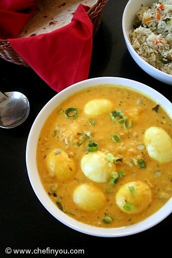 Indian Egg Curry with fat free Greek Yogurt. Simple and easy to make . Recipe --> http://chefinyou.com/recipe/egg-curry