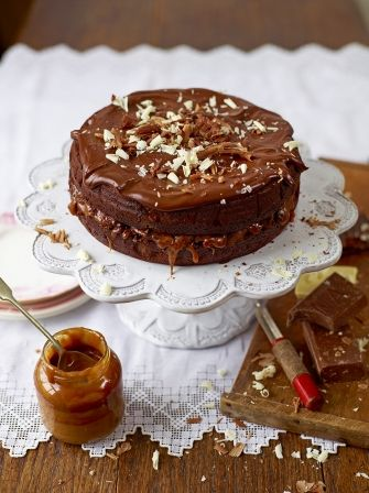 Enjoy this rich and decedent chocolate and salted Caramel cake from Jamie…