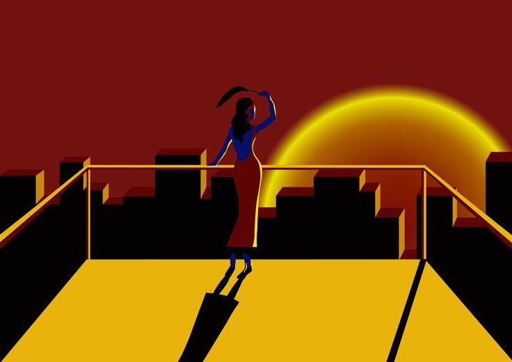Chaleur d'un soir, une création faite à partir d'illustrator. Inspiration : Malika favre, Thomas Danthony... #Illustration #minimalisme #sunset