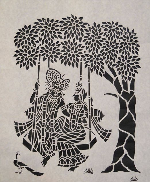 "Sanjhi Art of paper cutting - ""Sanjhi is not an art its a feeling and emotions of Sri Radha which she draws on earthen surface with colors and flowers."" Sanjhi painting is a tradition of art that originated out of the cult of Krishna and flourished in the north Indian state of Uttar Pradesh. It is in Vraja, or Vrindavan, the homeland of Lord Sri Krishna, and this art of Sanjhi painting reached its pinnacle."