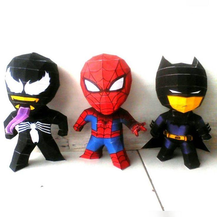 3 chiby superheroes #batman #spiderman & #venom . . #papermodel #papercraft #paper #kerajinan #kertas #kerajinantangan #Creative #Kreatif #amazingspiderman #batmanvsuperman #comic #DIY #karton #marvelcomic #dccomic #spidermanenemy #venomspiderman