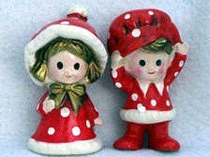 Amazon.com - Vintage Inarco Japan Christmas Boy / Girl Pair Red / White Polka Dots
