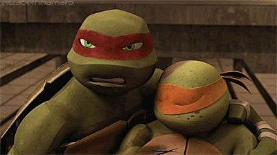 I love how protective Raph is. He always acts so tough, and is mean to his bro's, but if any one else messes with them, watch out!