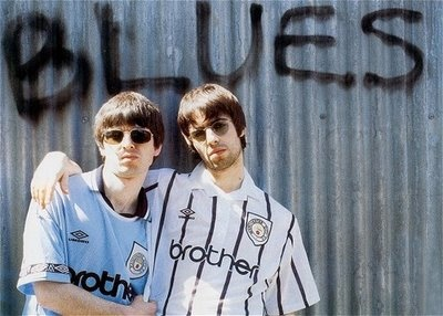 Manchester city fans Liam and Noel Gallagher, former Oasis members.. Old picture.