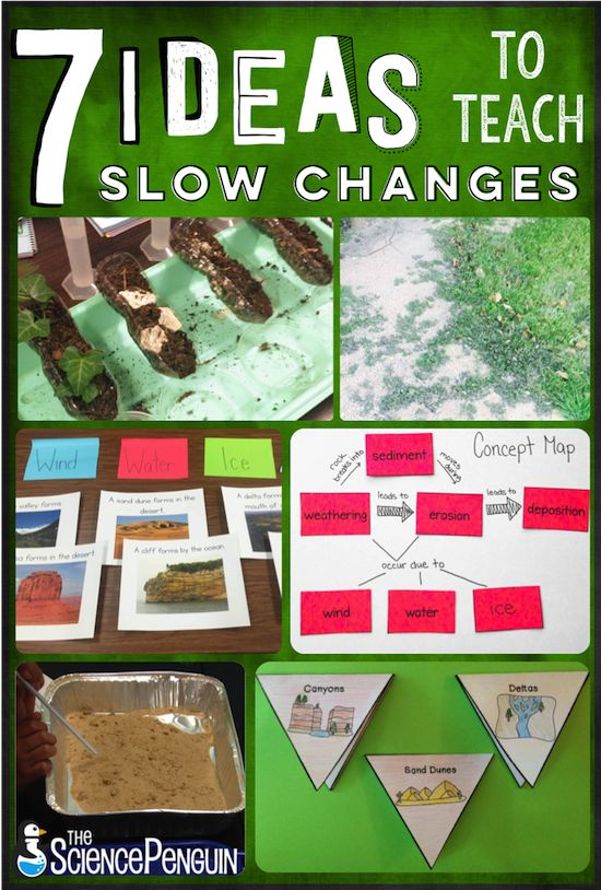 7 Ideas to Teach Slow Changes: weathering and erosion video, erosion stations, landforms sort, landforms project, erosion walk, concept map, and experiment
