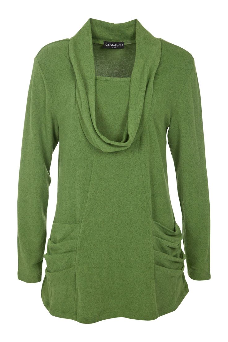 """tunics are a must for me...with leggings. A cowl neck tunic with scoop insert in a flattering A-line shape for the #""""O"""" shape, #apple shape"""
