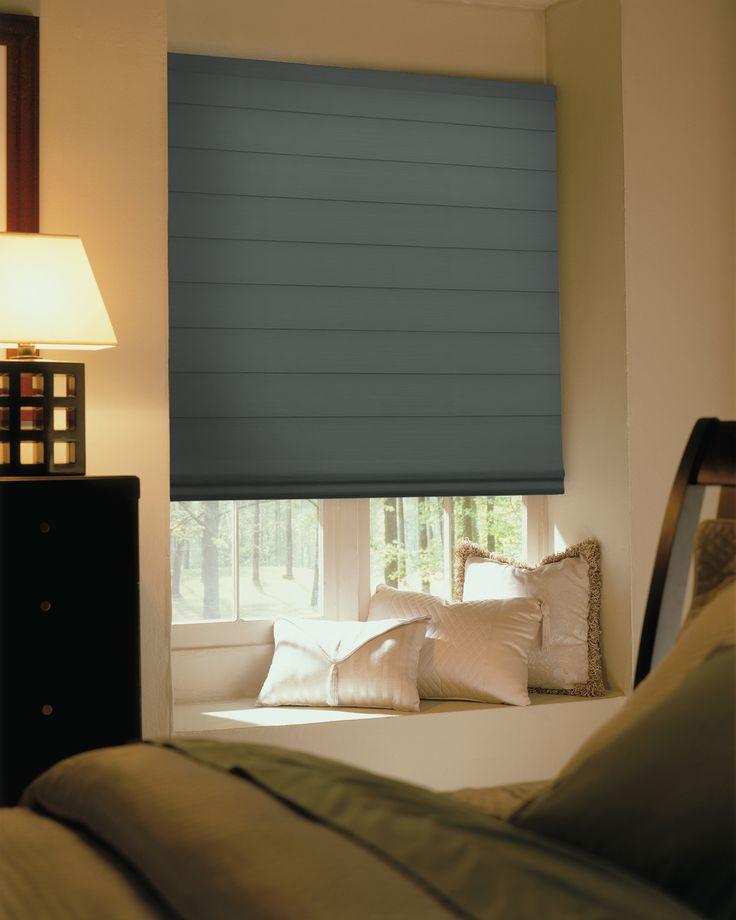 Comfortex® Envision® Roman Shades: Bora Bora Blackout Shown In Island Oasis  With Flat Fold Option