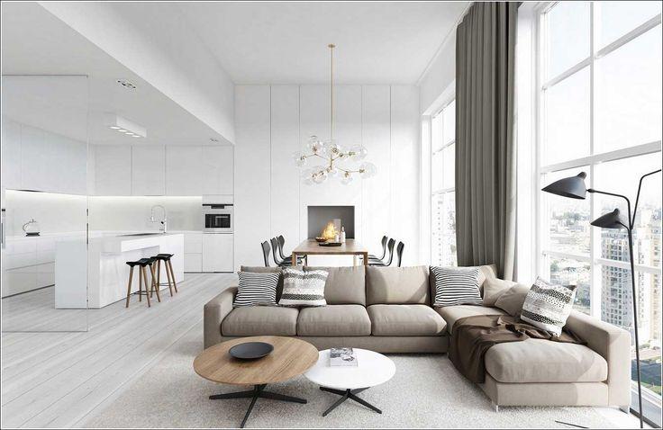 Witte Interieur Woonkamer Design Met Grijze Sofa IdeeA«n ...
