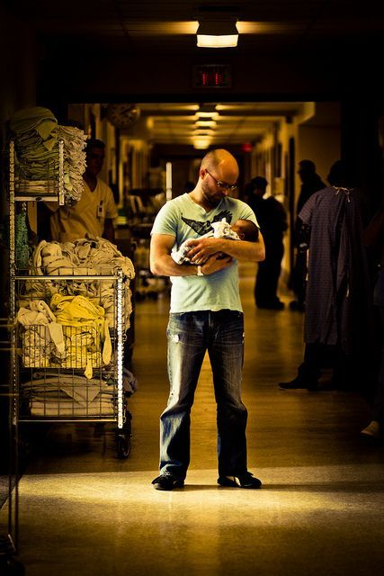 Dad and Baby in Hospital Hallway. Perfect   first picture. im kinda a sucker for daddy photos