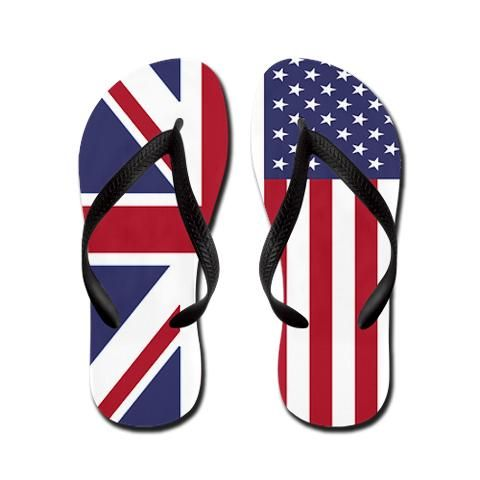 'Brit in the USA' Flip Flops  UK/USA Unity design    http://www.cafepress.com/britshop.624417289    These cool and custom flip flops will knock your socks off! Our original design reflects the UK / USA unity in your sandal style. Our waterproof thong flip flops are perfect for the beach, around the house or to the mall. For an endless summer of fun on your feet, slip on a pair of United Kingdom / United States of America Unity flip flops from Brit N' Spired! $18.99