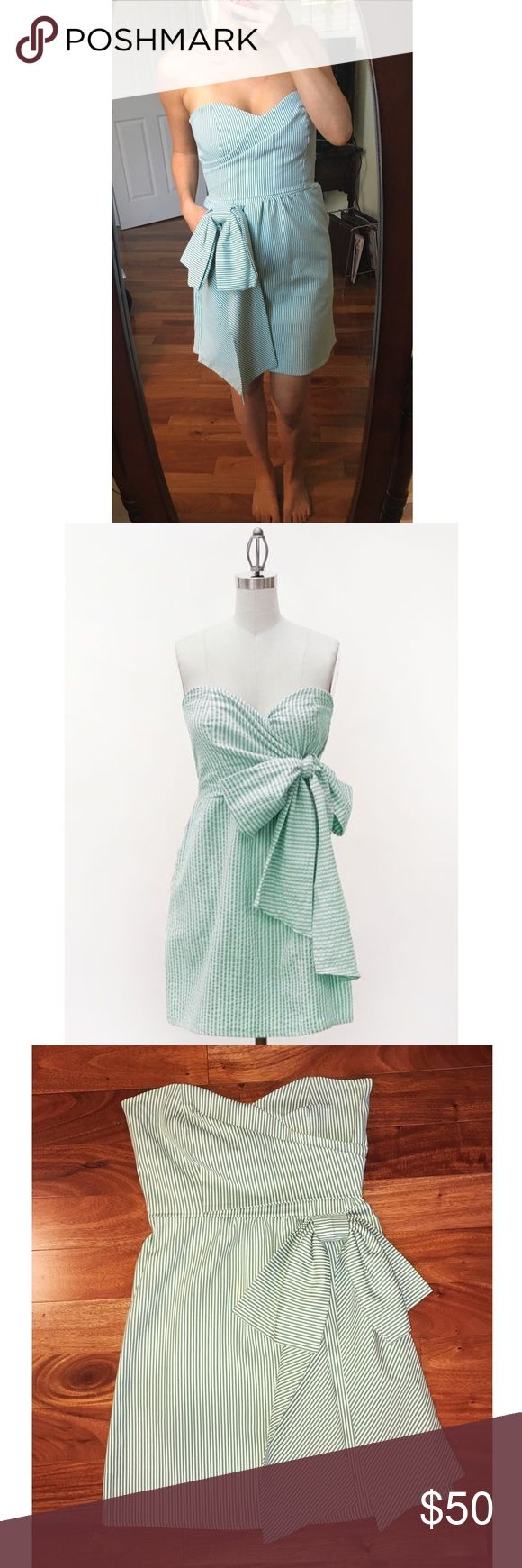 Judith March Seersucker Dress worn once!! Judith March Green Seersucker Dress size M only worn once and in AMAZING condition. Dress has pockets as well! Feel free to ask any questions 😊 *picture of pockets on dress is the exact same dress in different color * Judith March Dresses Mini