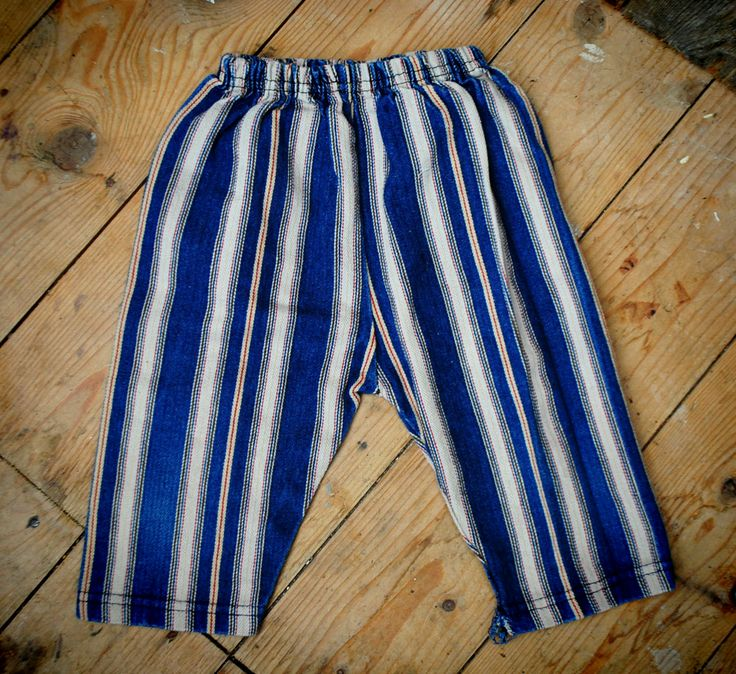 1970's Striped trouser with elasticated waist approx age 3-9 months  Cotton striped trousers with elasticated waistband. Some areas of darning.  £15