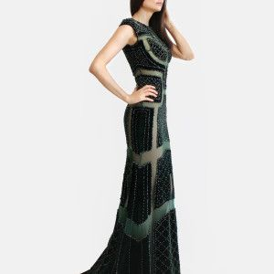 Sheer gown with symmetrical patterned, hand beaded, royal green velvet, sweep train