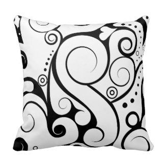 Cute black white abstract design pillow