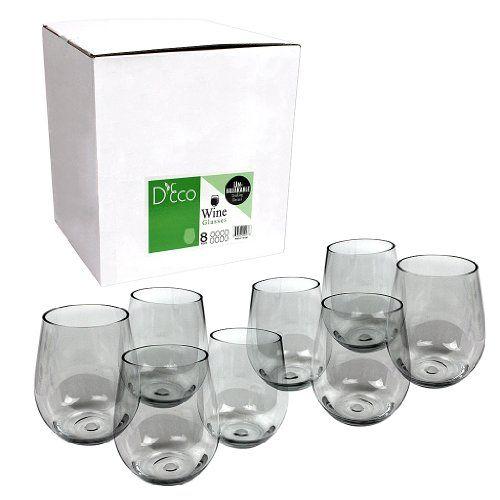 Amazon.com | Govino Wine Glass Flexible Shatterproof Recyclable, Set of 4: Plastic Wine Glasses: Wine Glasses