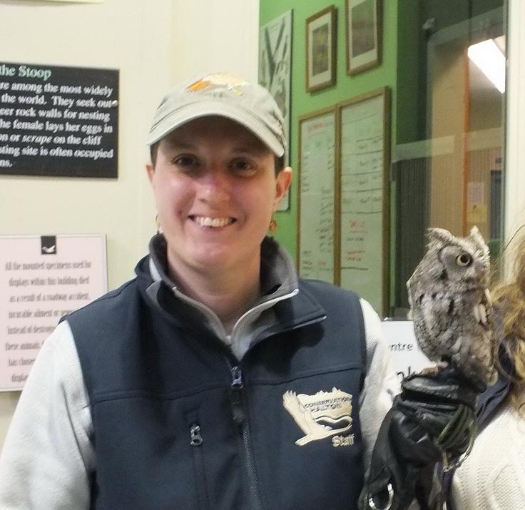 Sandra holds a Eastern Screech Owl on her hand - Mountsberg Raptor Centre