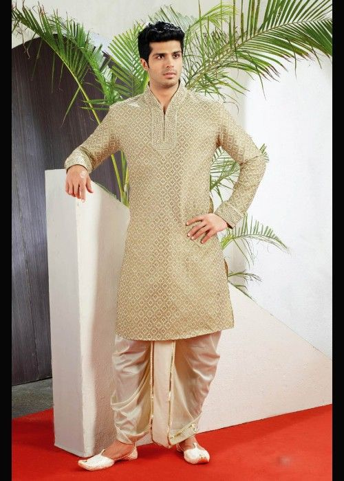 Cream Jacquard Festive Wear Kurta Dhoti . Shop at -  http://www.gravity-fashion.com/15762-cream-jacquard-festive-wear-kurta-dhoti-.html