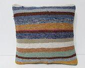 blue decorative pillow brown throw pillow bright kilim pillow sofa cushion cover outdoor pillow case lake house decor handmade cushion 23587