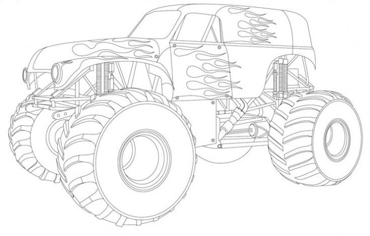 Online Grave Digger Truck Coloring Page To Print | Monster ...