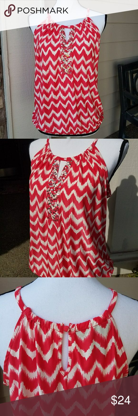Macy's INC Halter Style Tank W/Sequins SZ MP Sleeveless, Red/White W/Chevron Type Print, Silver Sequins & Bead Detail, Keyhole @ Bust Area,Elastic at Waist, Button Closure at Back, Excellent Condition - I don't remember ever wearing it. All Sequins & Beads are Intact.  95% Polyester/ 5% Spandex INC International Concepts Tops Tank Tops