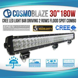"Cosmoblaze 30"" 180W CREE LED Light Bar Driving 2 rows FLOOD SPOT COMBO"