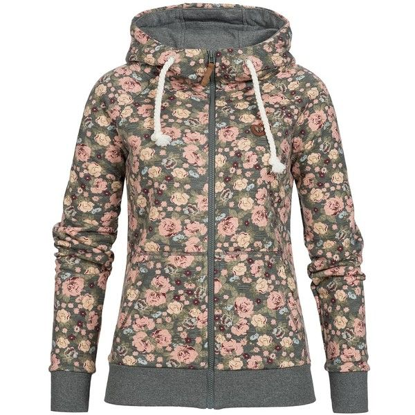 Hailys Damen Sweat Jacke Zip Hoodie 2 Taschen Blumen navy grün rot ($32) ❤ liked on Polyvore featuring tops, hoodies, brown hooded sweatshirt, brown hoodie, sweatshirt hoodies, navy hoodie and hooded zip sweatshirt