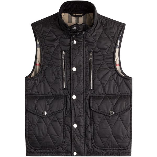 Burberry London Quilted Vest ($559) ❤ liked on Polyvore featuring outerwear, vests, black, burberry mens vest, mens quilted vest, mens slim fit vest, mens vest and mens vest outerwear