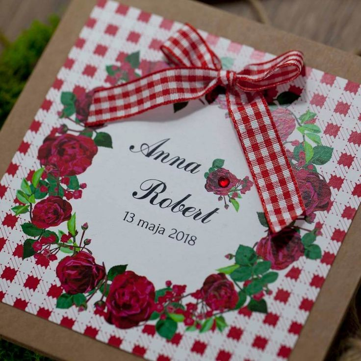 zaproszenia ślubne rustykalne z czerwoną kratą