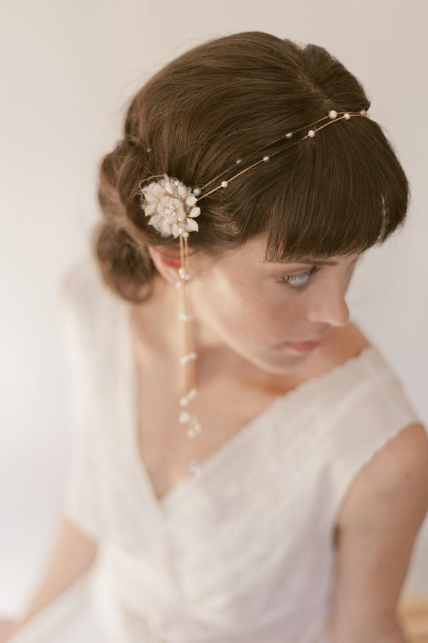 Double Freshwater pearl chain headband with teardrop crystal side droplets.