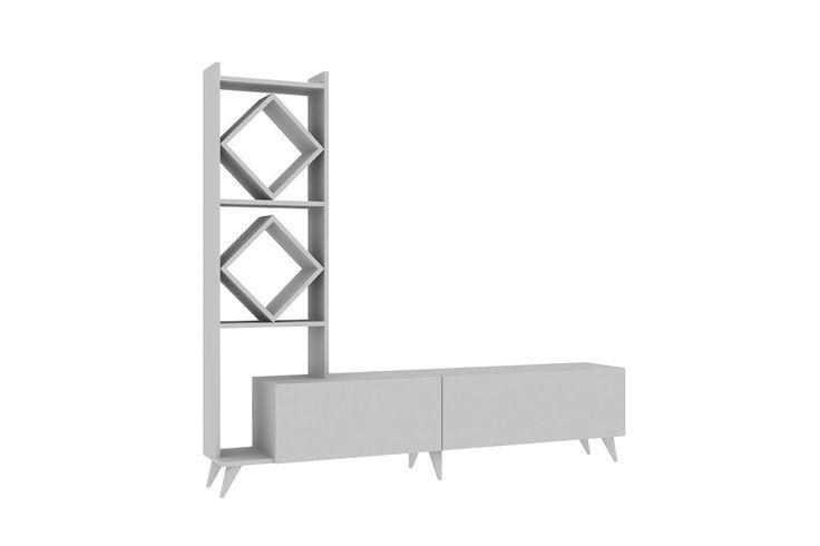 Σύνθεση σαλονιού Deco χρώμα λευκό 180x31x163