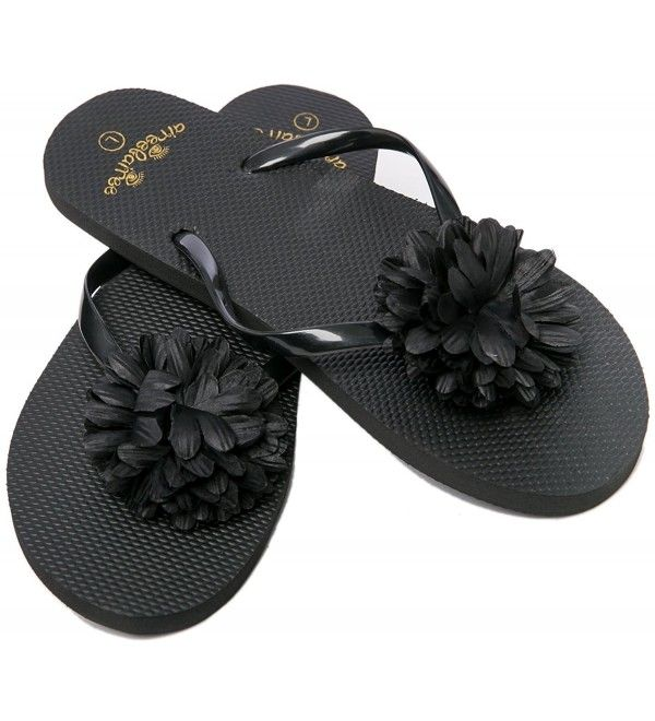 Flip Flops Womens Pool Beach Shoes With Flower Pattern- Floral Design – Black – …