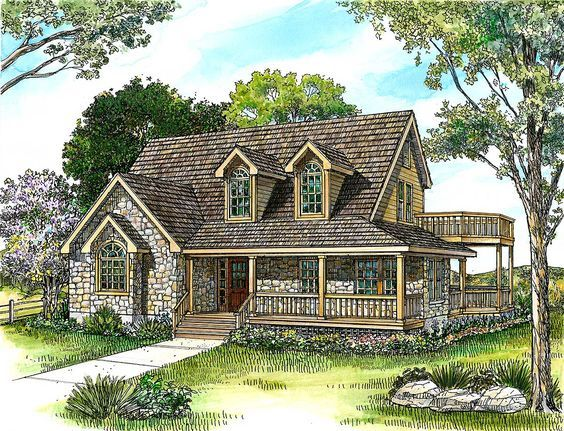 Country Stone Cottage Home Plan - 46036HC | 1st Floor Master Suite, CAD Available, Country, Hill Country, Loft, PDF | Architectural Designs