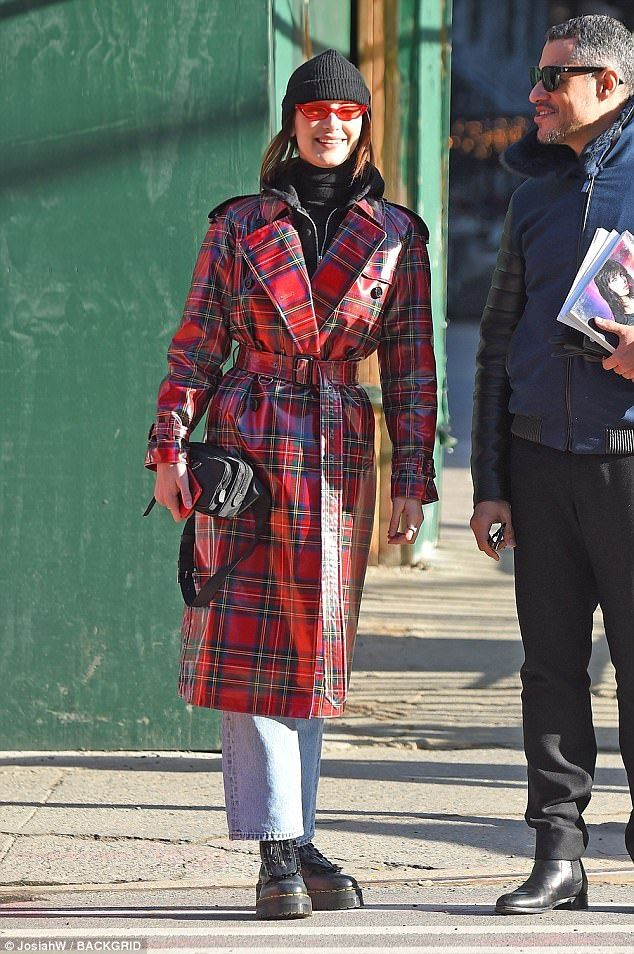 Plaid's nice: Hadid was decidedly covered up following the reveal of her latest photo shoo... #bellahadid #models
