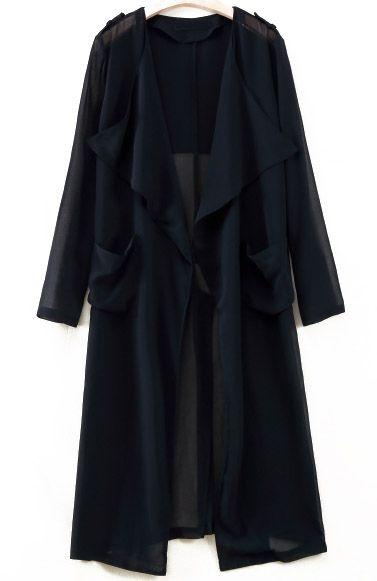 Black Long Sleeve Epaulet Pockets Outerwear 27.50