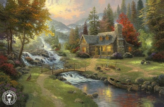 """~ As Nighttime falls over """"Mountain Paradise"""" ~ a gentle, yet profound, sense of Thankfulness and Peace in the Valley settles in quietly.......... ♥ ~ By Artist, Thomas Kinkade thomaskinkade.com via pinterest https://www.facebook.com/photo.php?fbid=464055880337562=a.352643578145460.81730.352631861479965=1"""