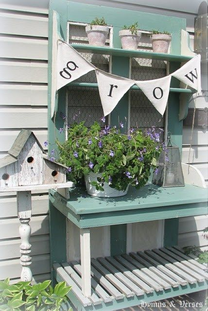 Darling wood potting becnh in white and vintage aqua! New Potting Bench - Hymns and Verses
