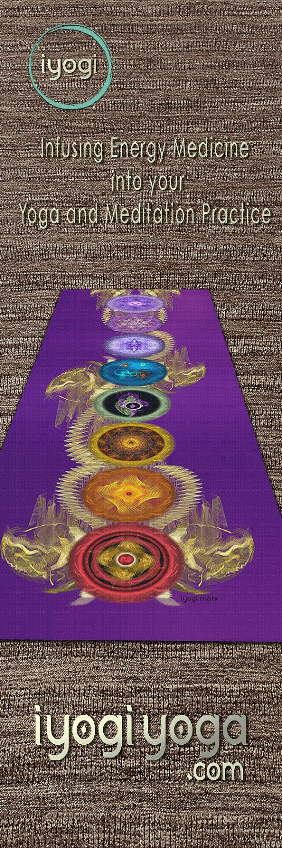 Healing with Purple Chakra Mat iYogi Yoga Travel Mat by iYogiMats