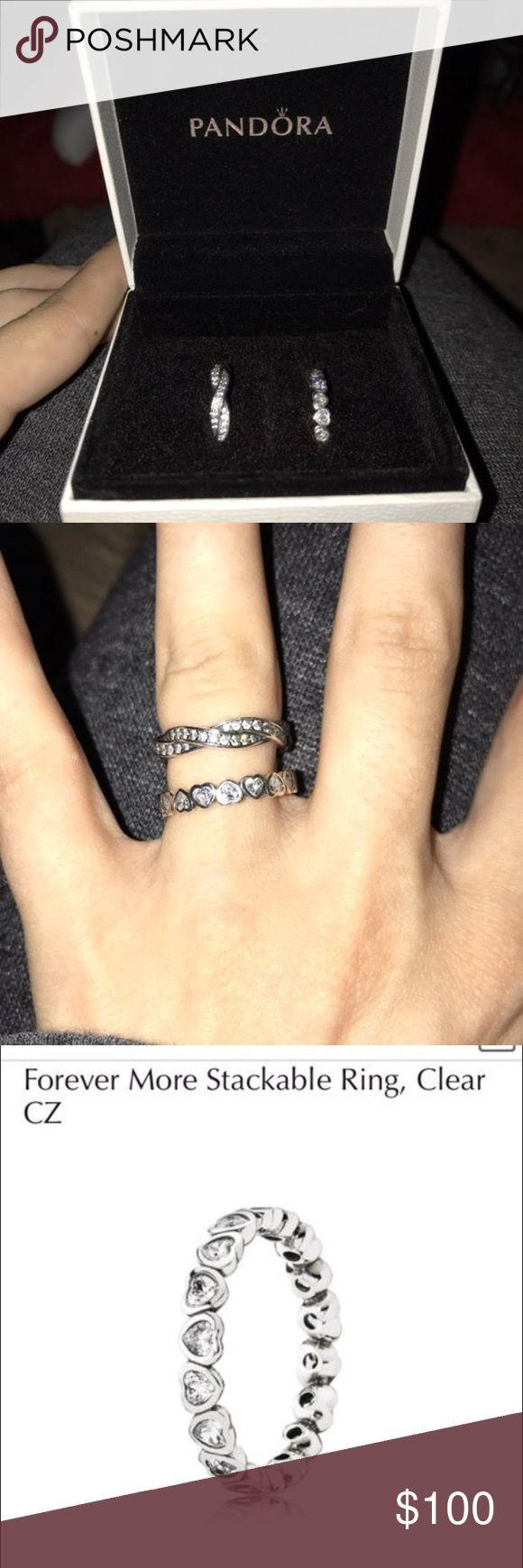 Pandora stackable rings Twist of Fate and Forever More Pandora rings. Size 5 both worn maybe twice. Kept in box. Great condition! Originally paid $200 for both. Asking $100 for both or $50 each. Pandora Jewelry Rings